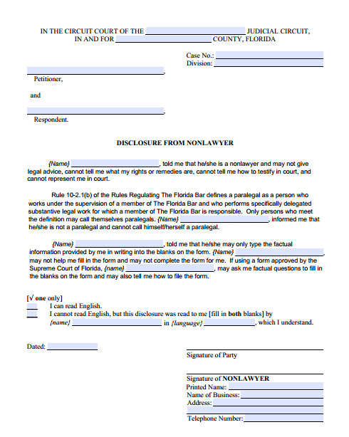 Disclosure From Nonlawyer, Form 12.900(a)