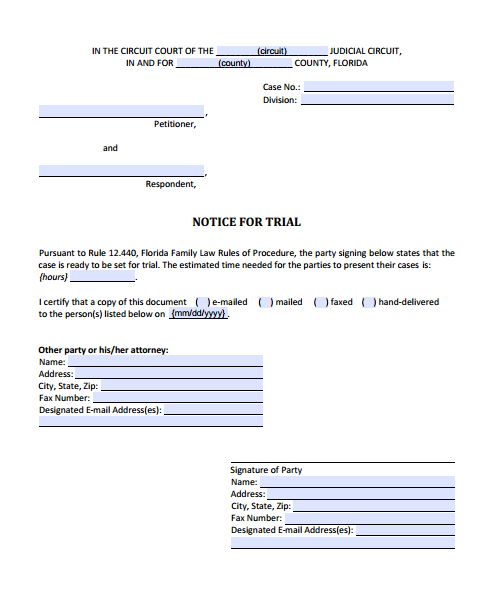 Notice for Trial, Form 12.924