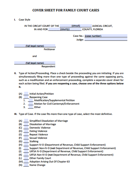 Cover Sheet for Family Court Cases, Form 12.928