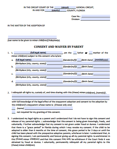 Consent and Waiver by Stepparent, Form 12.981(a)(1)