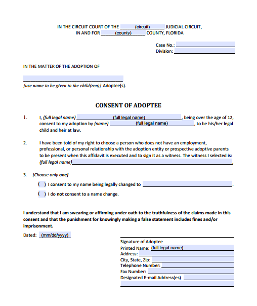 Consent by Adoptee, Form 12.981(a)(2)