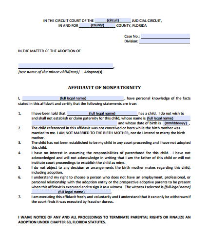 Affidavit of Nonpaternity, Form 12.981(a)(3)