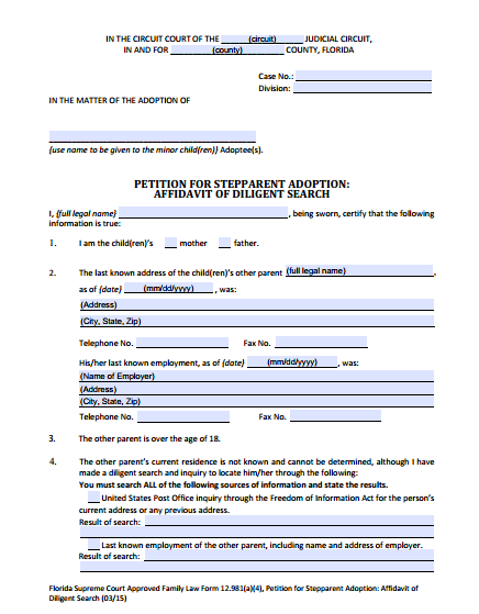 Affidavit of Diligent Search, Form 12.981(a)(4)