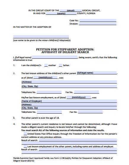 Affidavit of Diligent Search, Form 12.981(a)(4)