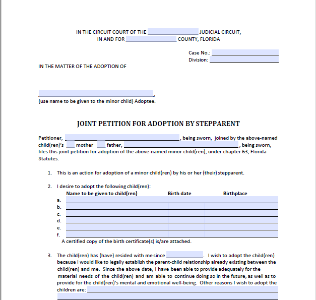 Joint Petition for Adoption by Stepparent, Form 12.981(b)(1)