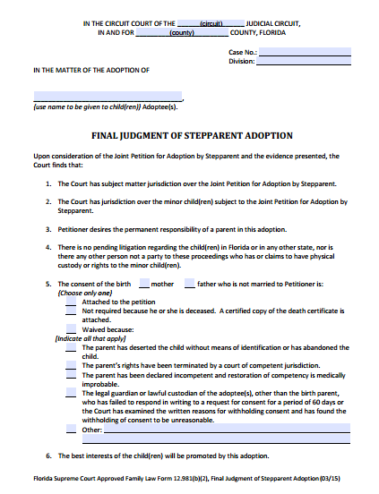 Final Judgment of Stepparent Adoption, Form 12.981(b)(2)