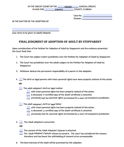 Final Judgment of Adoption of Adult by Stepparent, Form 12.981(c)(3)