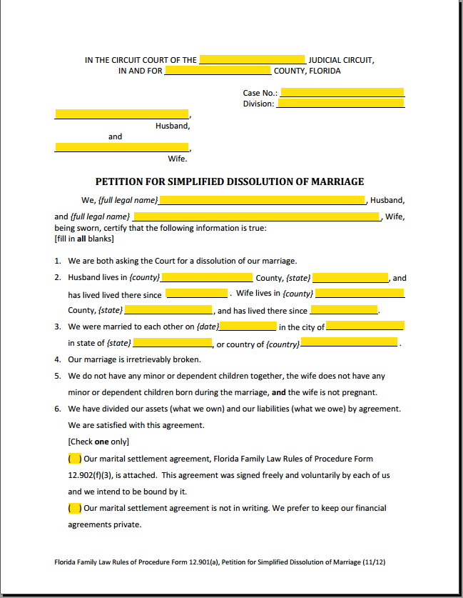 Florida Court Forms Interactive Fillable Divorce Forms