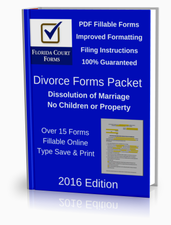 PDF Fillable Forms Packet for Dissolution of Marriage With No Dependent or Minor Children or Property (DFP901B3)