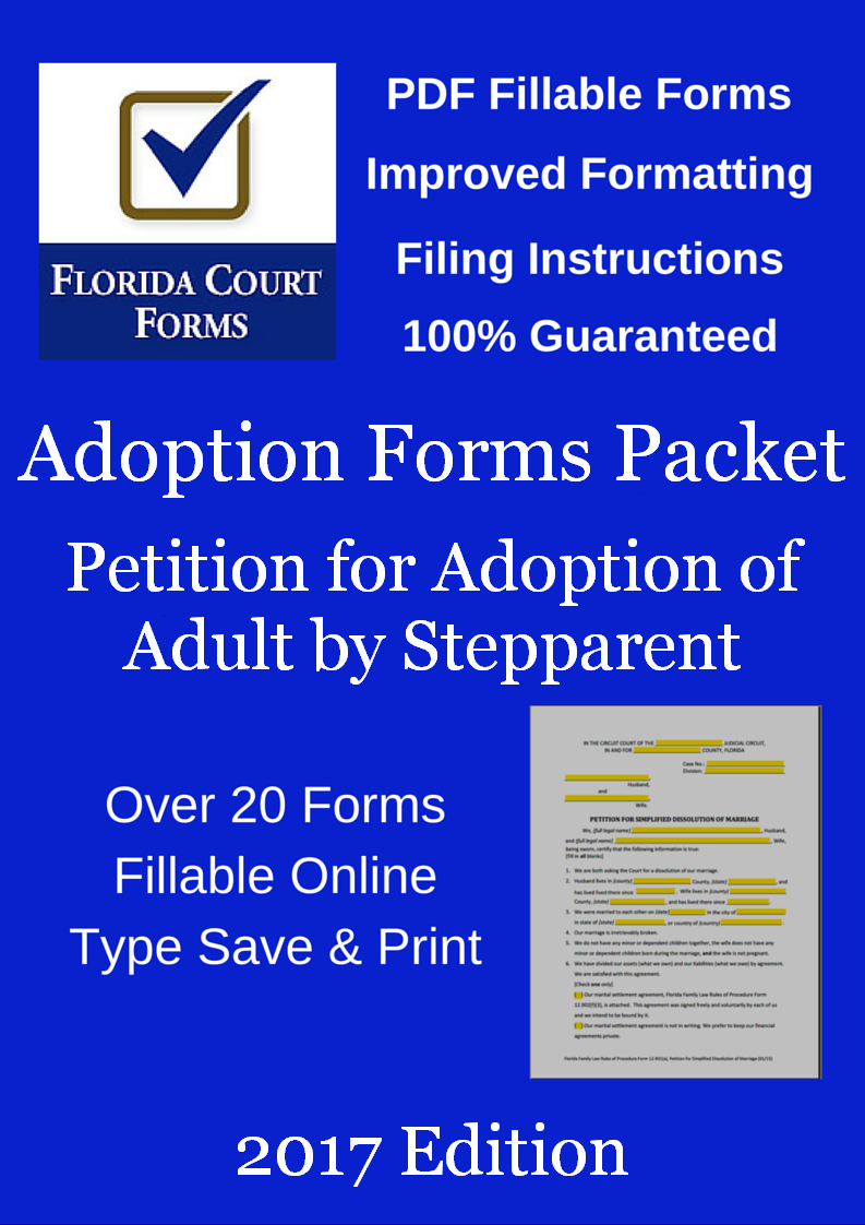 PDF Fillable Adult Adoption by Stepparent Forms Packet(FP981C1)