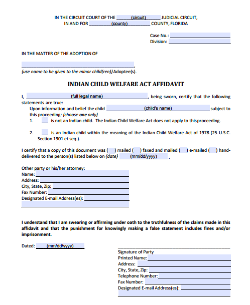 Indian Child Welfare Act Affidavit, Form 12.981(a)(5)