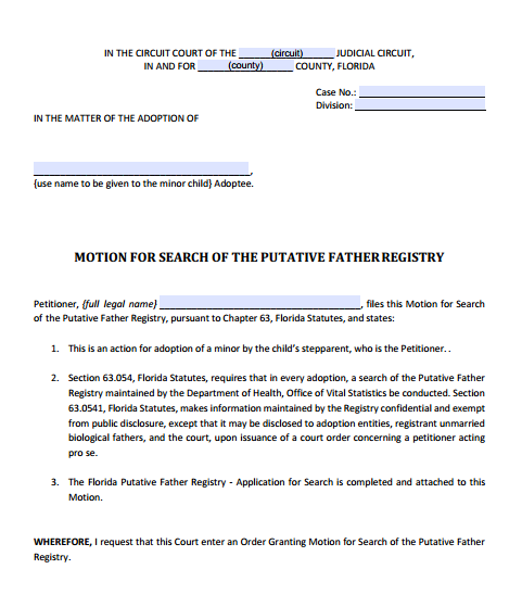 Motion for Search of the Putative Father Registry, Form 12.981(a)(6)