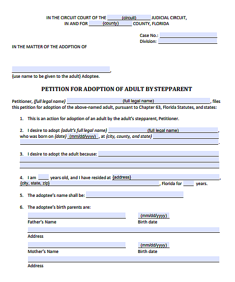 Petition for Adoption of Adult by Stepparent, Form 12.981(c)(1)