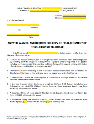 Answer & Waiver Form 12.903(a)