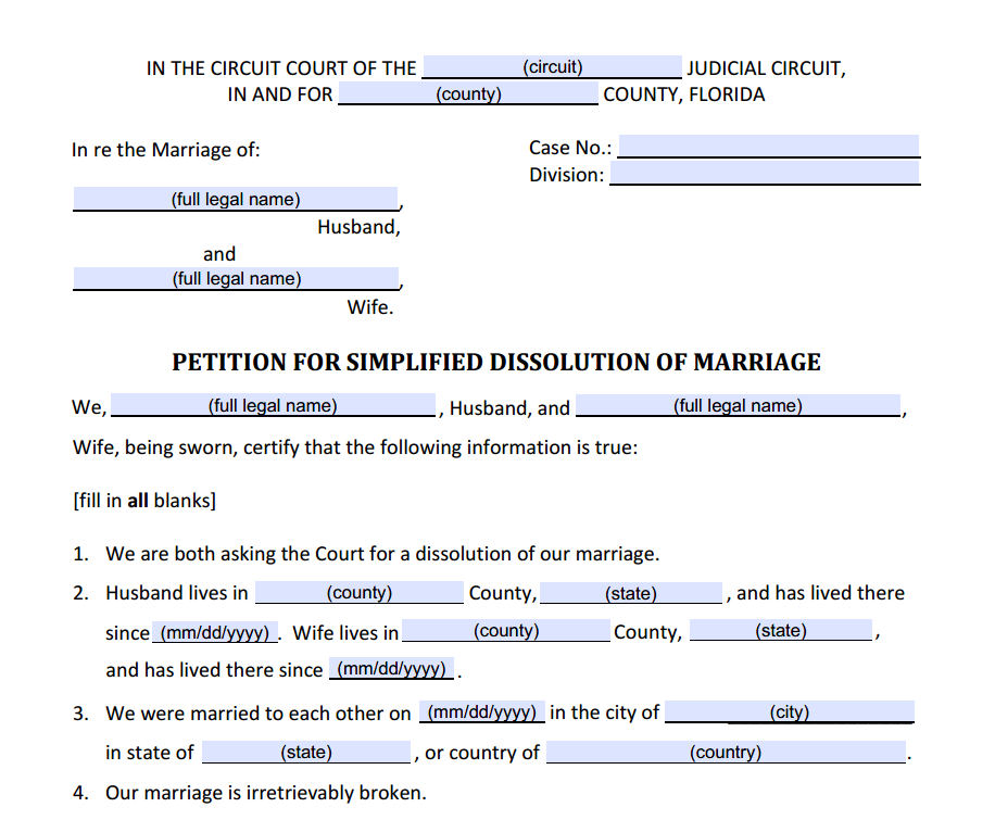 Florida Family Law Forms - Interactive Fillable Family Law Forms in PDF