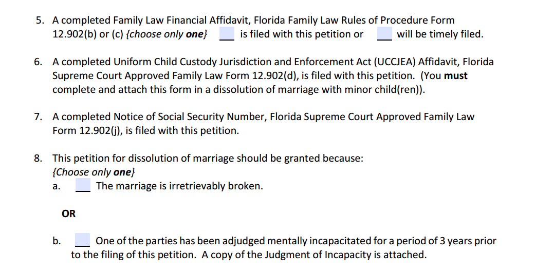 Petition For Dissolution of Marriage With Children Paragraphs 5 to 8