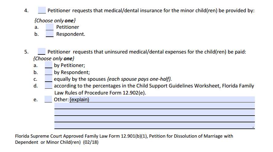 DOM w/ Children Section 4 Child Support (para. 4 - 6)