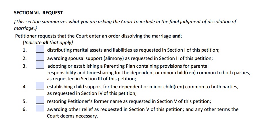 DOM w/ Children Section 6 Request Summary