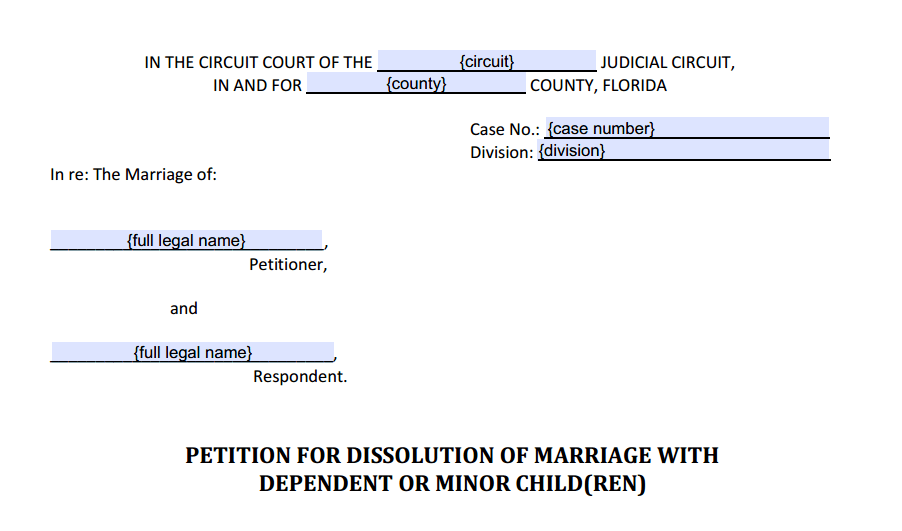 Petition For Dissolution of Marriage With Dependent or Minor Children Style (Heading)