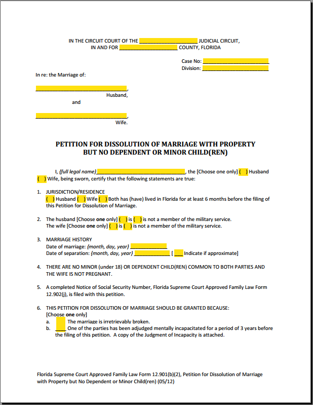 PDF Fillable Form 12.901(b)(2) Dissolution of Marriage with Property