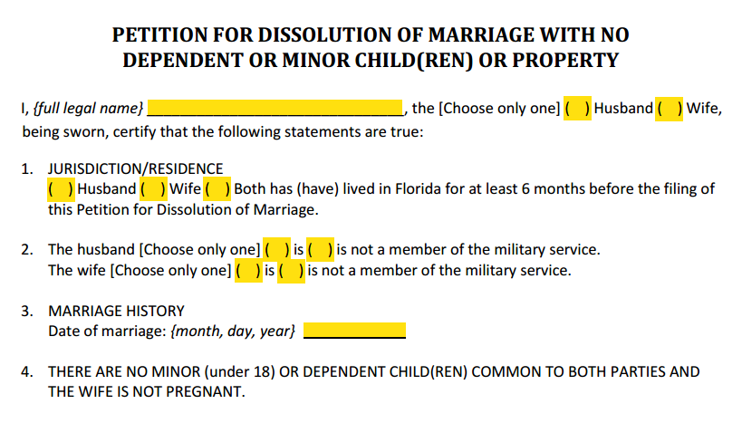 Petition For Dissolution of Marriage With No Children or Property Paragraphs 1 to 4