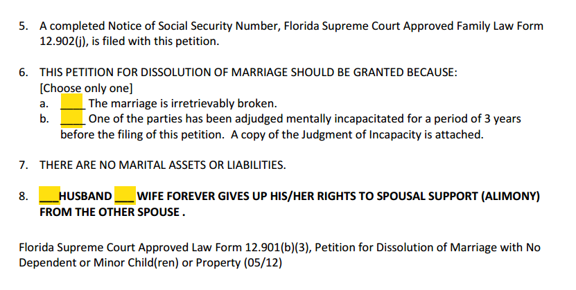 Petition For Dissolution of Marriage With No Children or Property Paragraphs 5 to 8