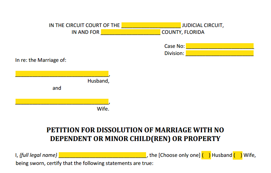 Petition For Dissolution of Marriage With No Children or Property Style (Heading)