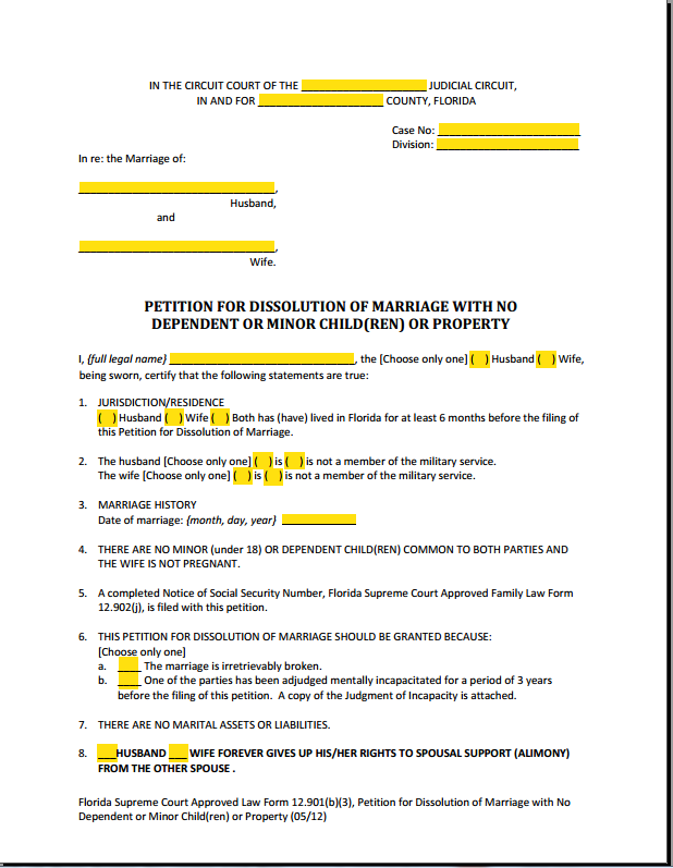 PDF Fillable Form 12.901(b)(3) Dissolution of Marriage With No Children or Property