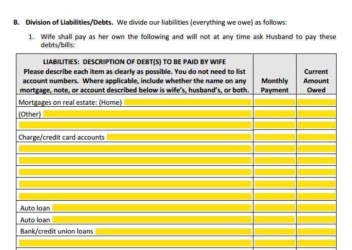 MSA Section 1 Part B Division of Liabilities & Debts