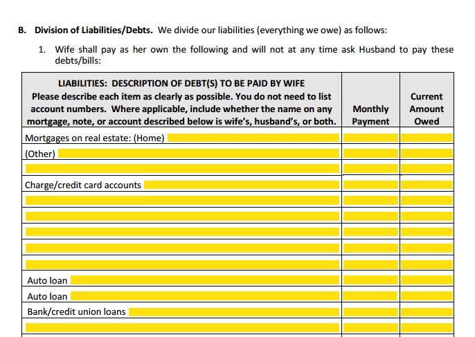MSA Section 1 Part B Division of Liabilities & Debts