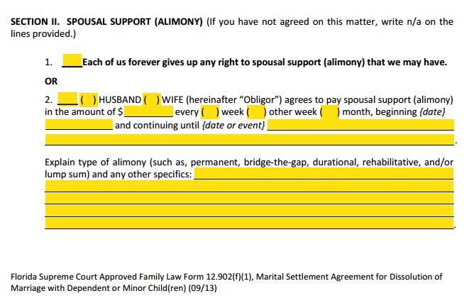 MSA Section 2 Spousal Support Alimony