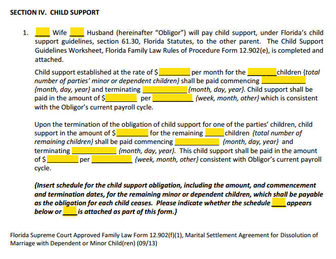 MSA Section 4 Child Support