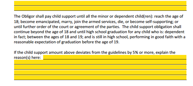 MSA Section 4 Child Support Schedule