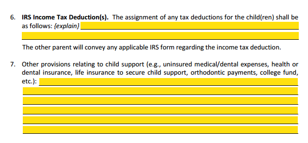 MSA Section 4 Child Support IRS Income Tax Deduction