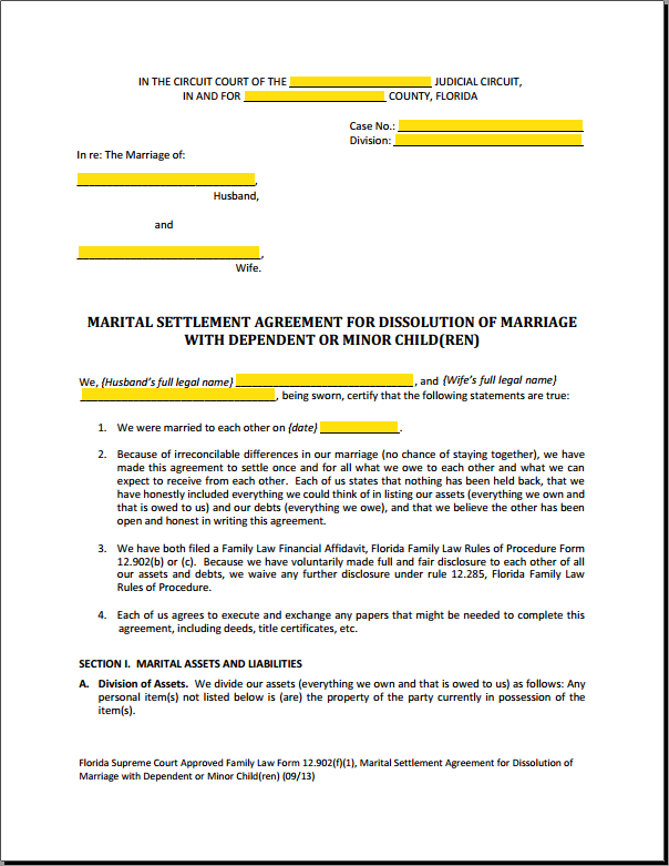 Florida Marital Settlement Agreement Form