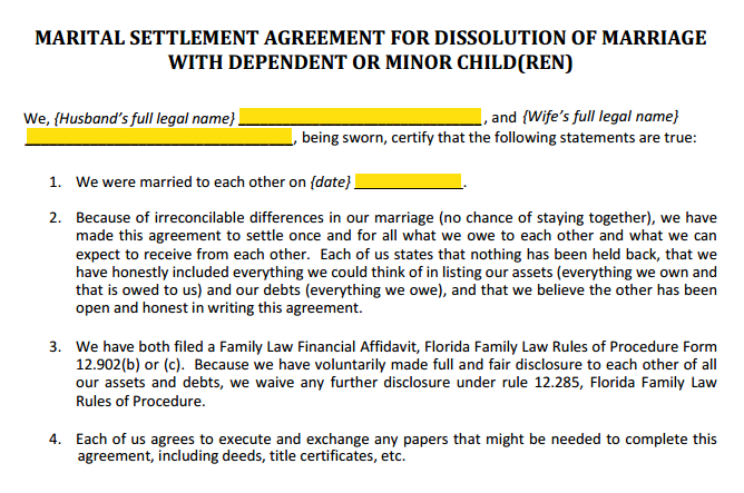 Form 12 902f1 Marital Settlement Agreement Divorce With Children