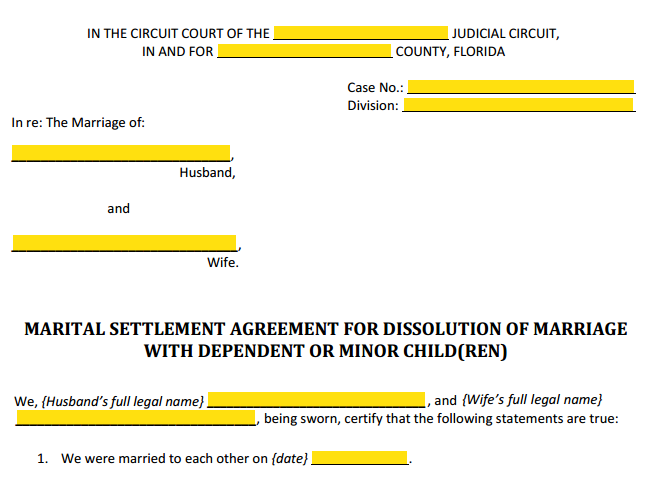 Form 12.902f1 Marital Settlement Agreement With Children Style (Heading)