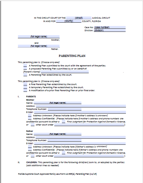 Florida shared parenting plan forms instructions for Shared parenting plan template