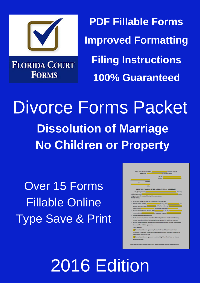 PDF Fillable Forms Packet Dissolution of Marriage With No Children or Property