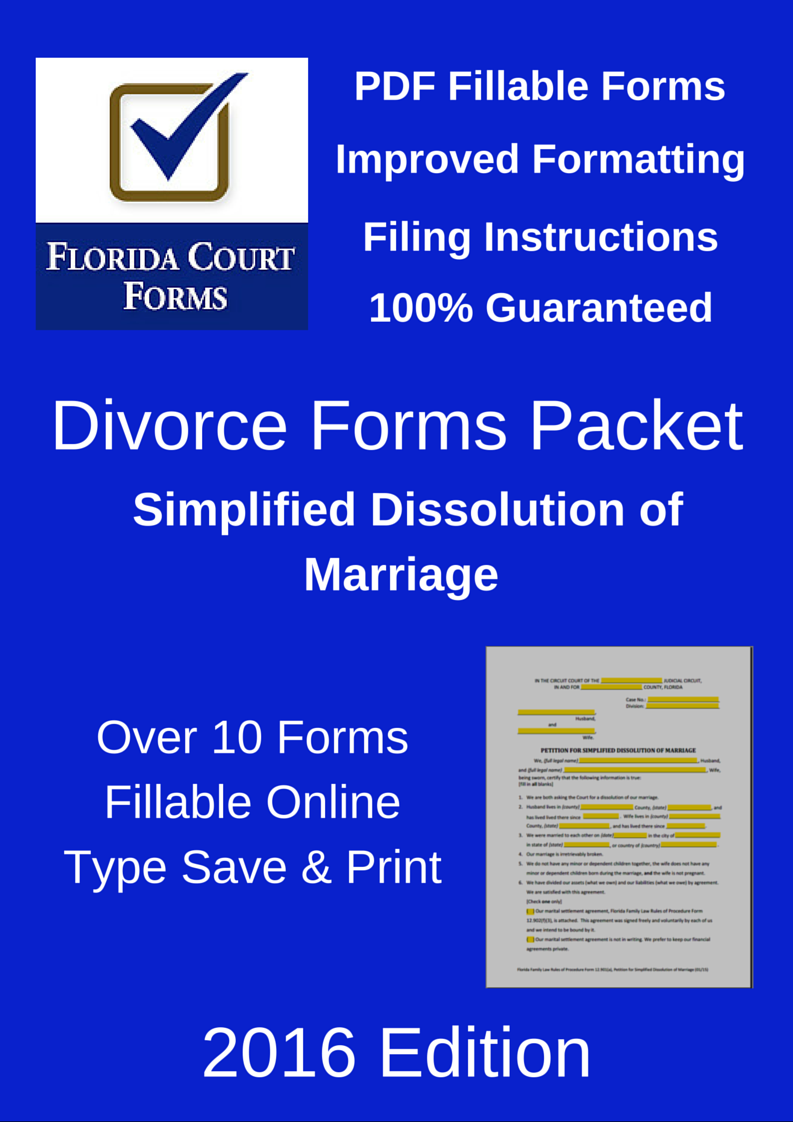 PDF Fillable Forms Packet Simplified Dissolution of Marriage