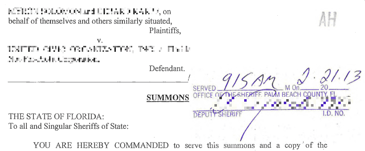 Florida Civil Summons and Complaint