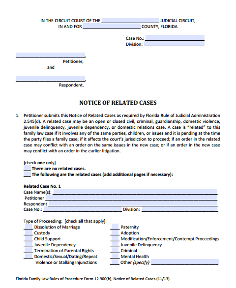 Notice of Related Cases, Form 12.900(h)