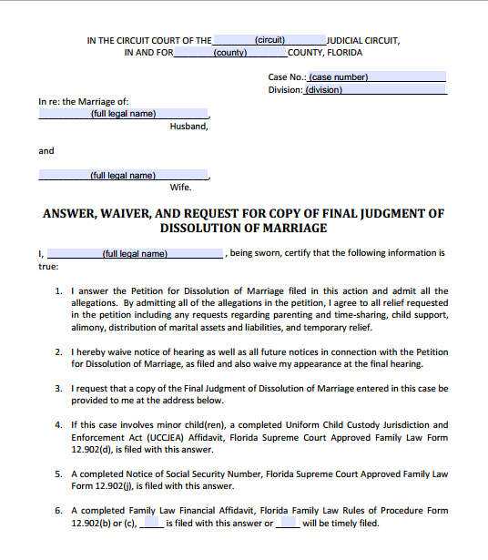 Answer, Waiver, and Request for Copy of Final Judgment of Dissolution of Marriage, Form 12.903(a)