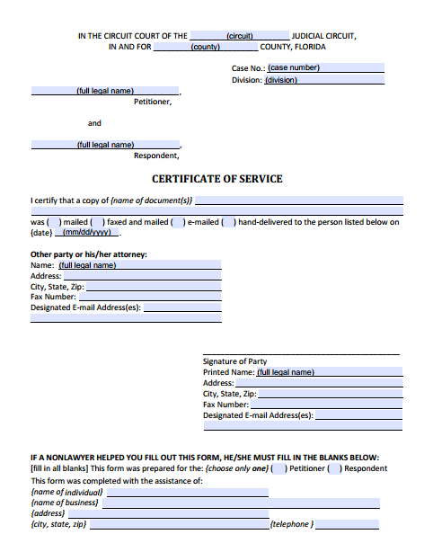 Certificate of Service, Form 12.914
