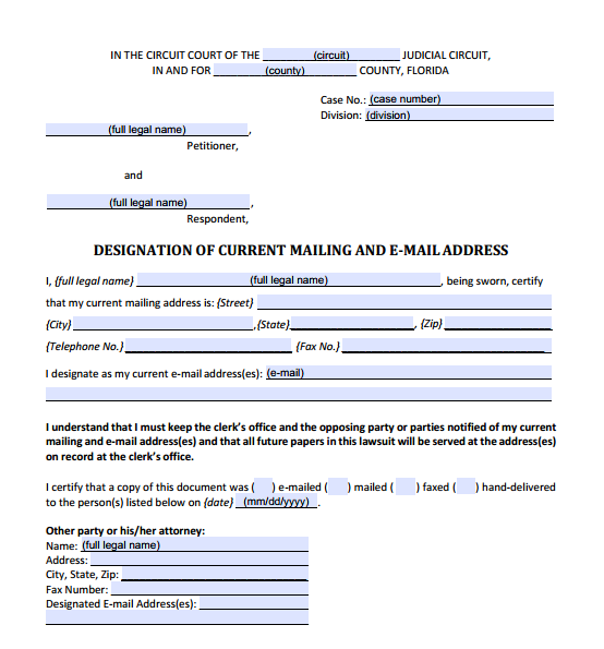 Designation of Current Mailing and E-mail Address, Form 12.915