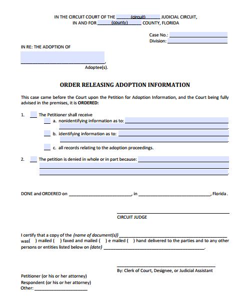 Order Releasing Adoption Information, Form 12.981(d)(2)