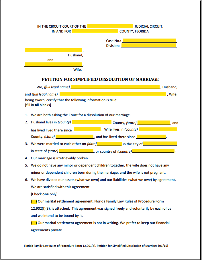 Florida's Simplified Divorce Form