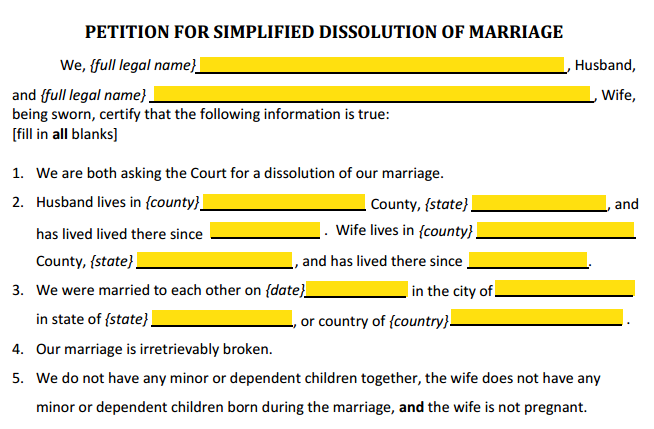 Petition For Simplified Divorce Paragraphs 1 to 5