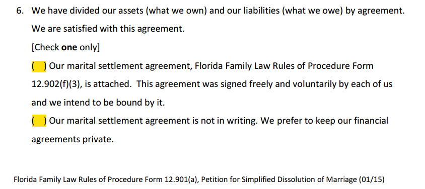 Petition For Simplified Divorce Paragraph 6