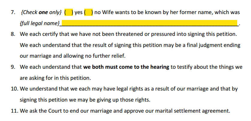 Petition For Simplified Divorce Paragraphs 7 to 11